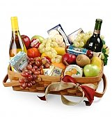 Wine & Fruit Baskets: Gourmet Fruit Basket with Wine